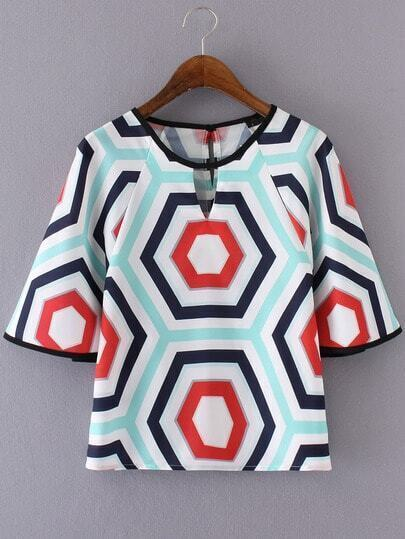 Multicolor Geometric Printed Key-hole Blouse