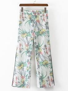 Multicolor Floral Elastic Waist Pocket Shift Pants