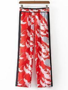 Red Crane Printed Elastic Waist Shift Pants