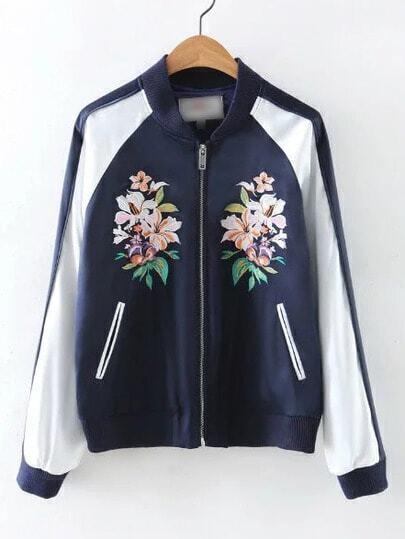 Navy Rib-knit Cuff Embroidery Pockets Zipper Jacket