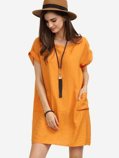 Orange Roll Sleeve Dual Pocket Oversized Dress