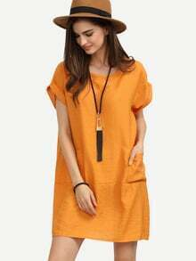 Orange Roll Sleeve Dual Pocket Oversized Dress