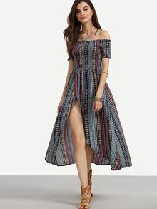 Multicolor Tribal Print Shirred Off The Shoulder Dress