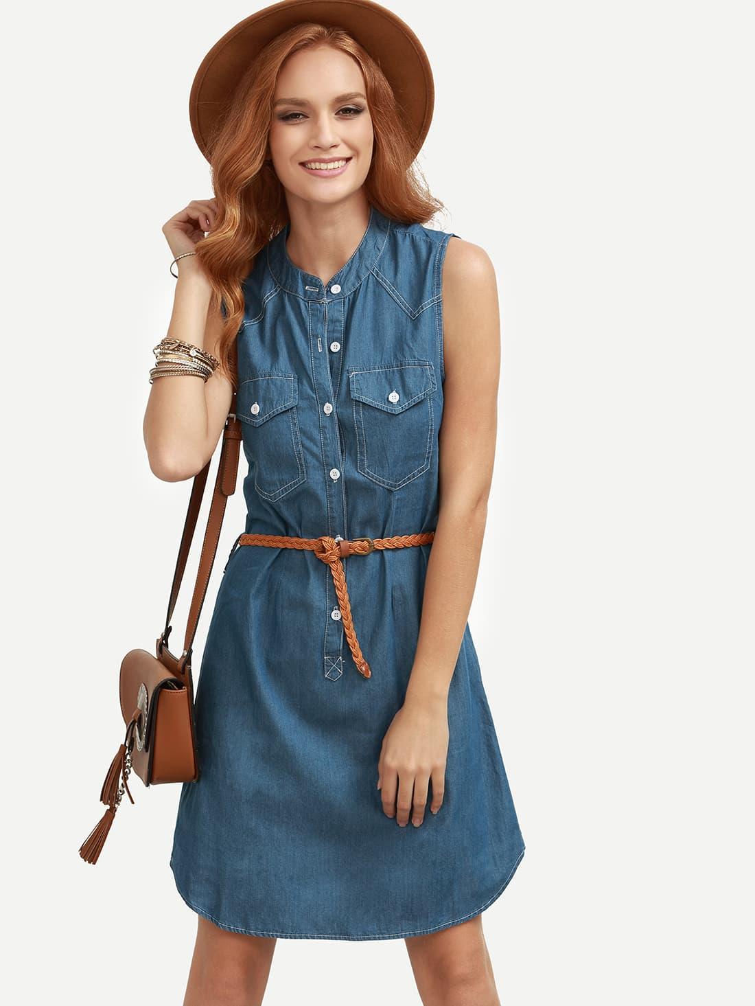 blue belted sleeveless denim shirt dress shein sheinside