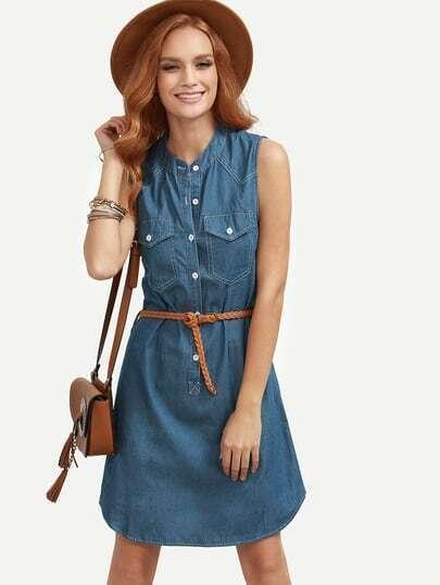 Blue Belted Sleeveless Denim Shirt Dress