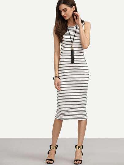 White Striped Sheath Tank Dress