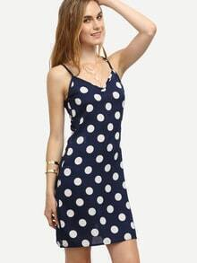 Navy Polka Dot Print Cami Dress