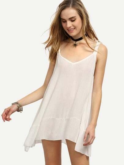White Wide Strap Swing Dress
