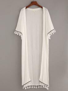 White Tassel and Woven Tape Trimmed Kimono
