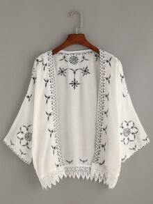White Lace Trimmed Embroidered Kimono