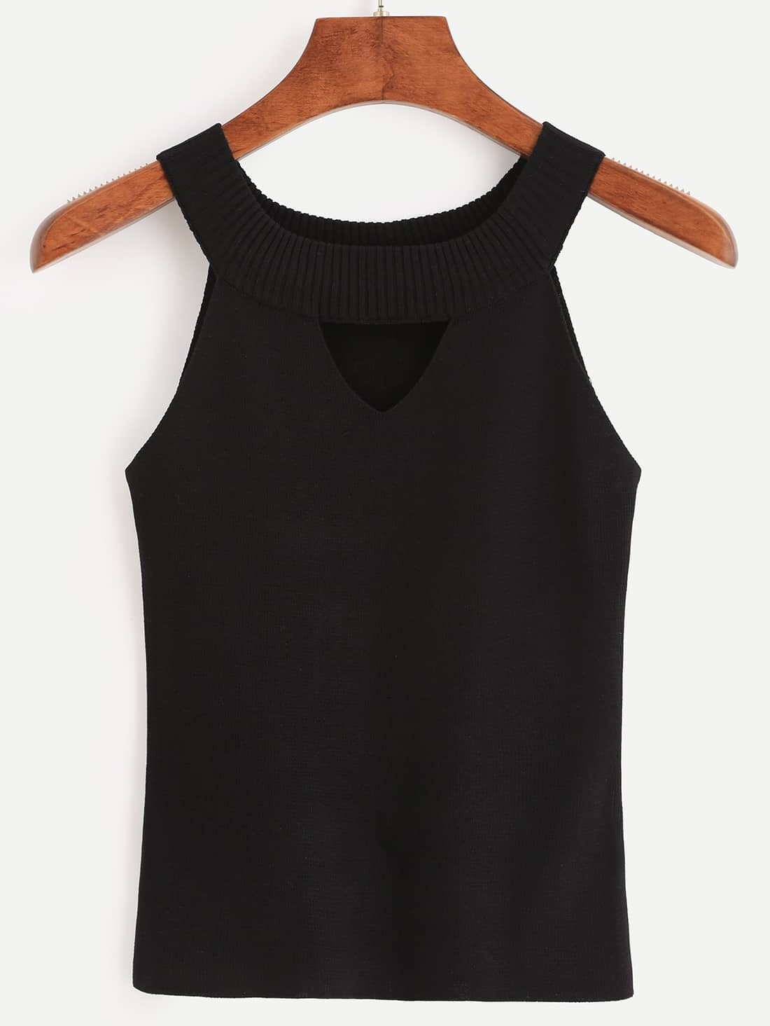Black Ribbed Neck Cutout Knitted Top vest160615032