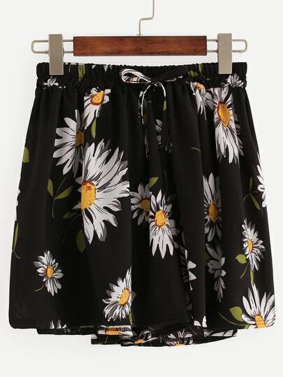 Daisy Print Drawstring Chiffon Shorts