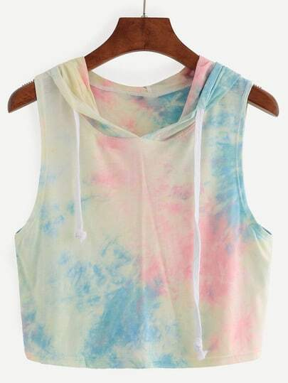 Multicolor Hooded Tie-dye Tank Top