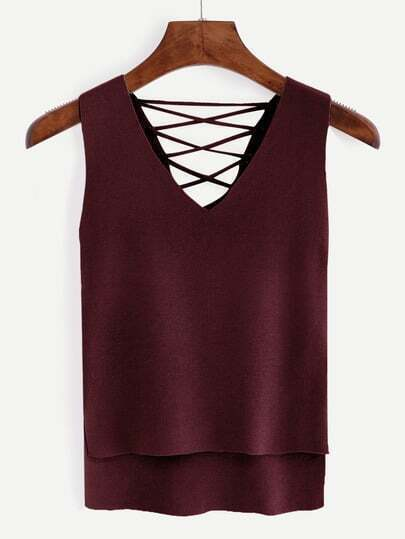 V Neck Lace Up Dip Hem Tank Top