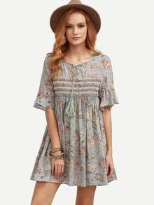 Ruffle Sleeve Florals Lace Up Dress