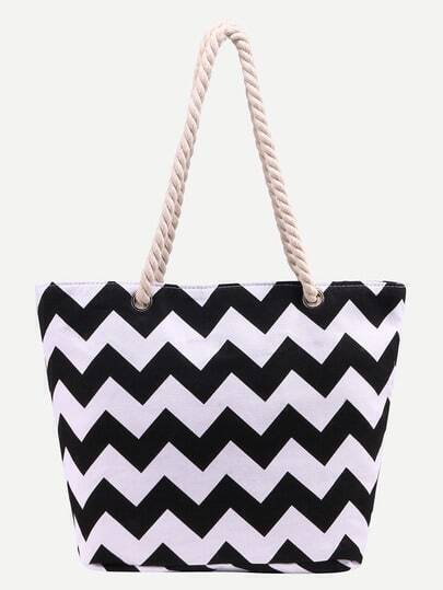 Contrast Chevron Print Canvas Shopper Bag