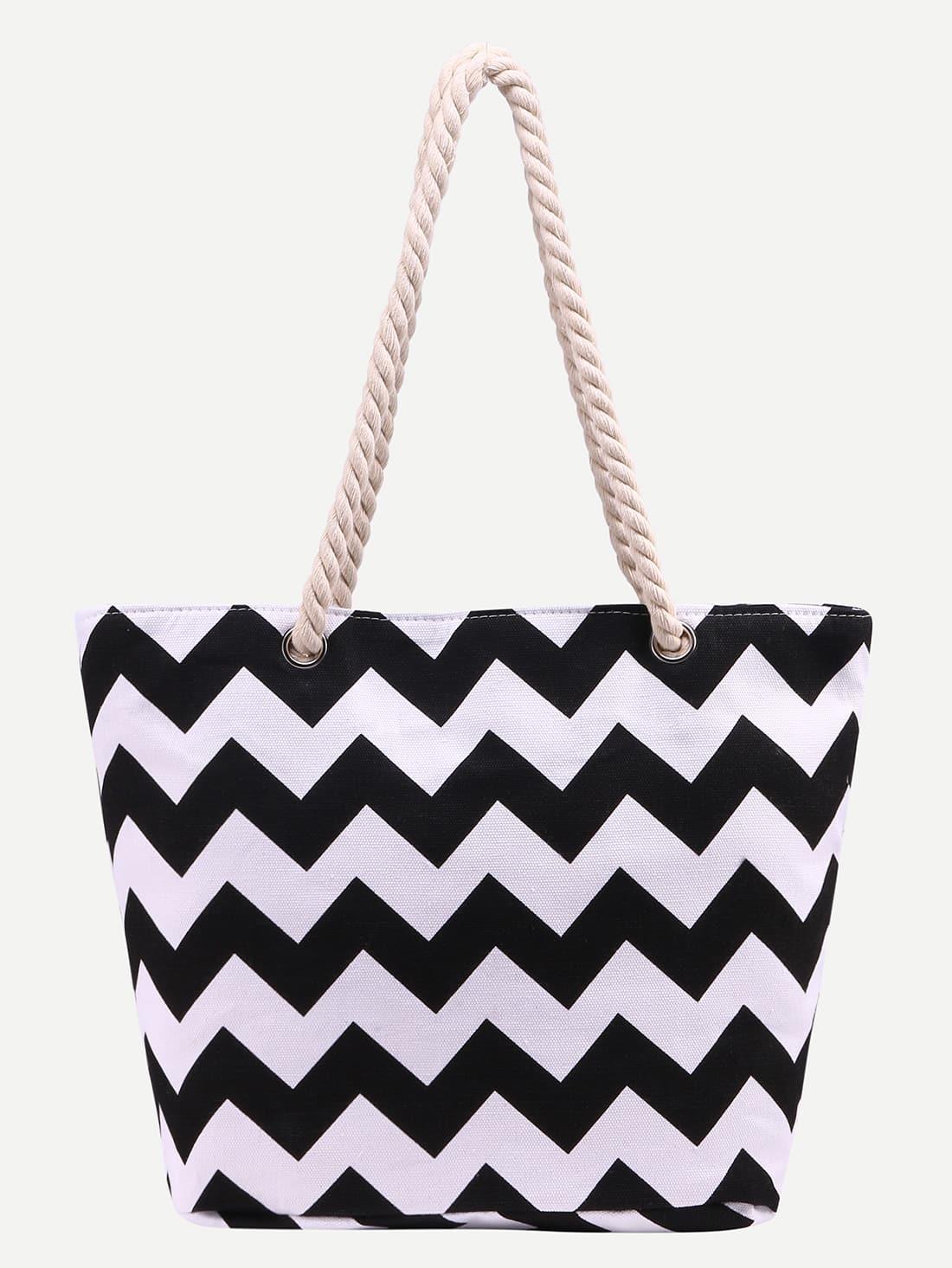 Contrast Chevron Print Canvas Shopper Bag bag160615309