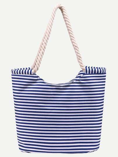 Blue Striped Print Canvas Shopper Bag