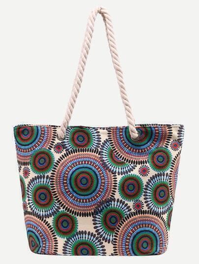Multicolor Circle Print Canvas Shopper Bag