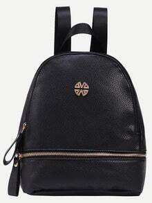 Pebbled PU Zip Front Backpack