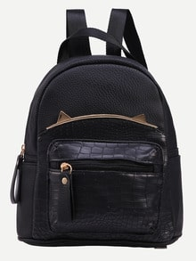 Black Crocodile Embossed Metal Trim Backpack