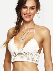 White Lace-Up Hollow Out Crochet Bikini Top