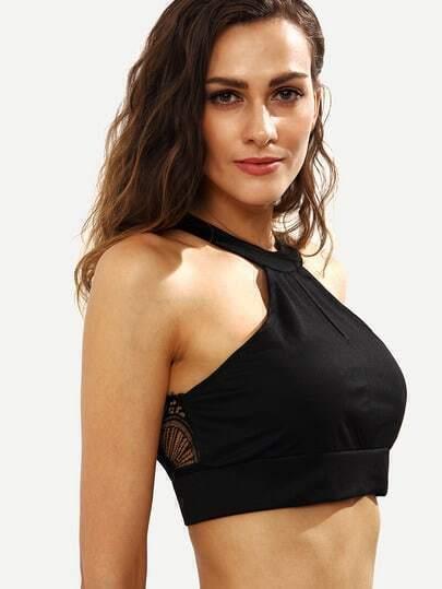 Black Keyhole Halter Neck Lace Insert Bikini Top