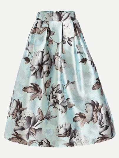 Mint Green Flower Print Box Pleated Skirt