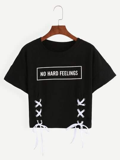 Black Letter Print Lace-Up Crop T-shirt