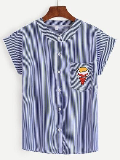 Blue Vertical Striped Ice Cream Patch Pocket Blouse