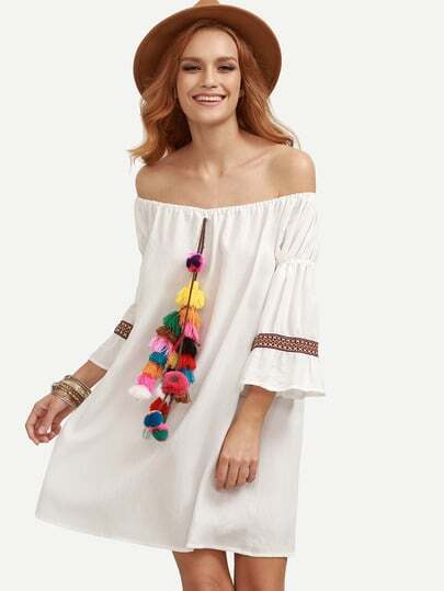 White Tassel and Woven Tape Embellished Off The Shoulder Dress