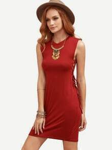 Burgundy Lace-Up Side Sheath Dress