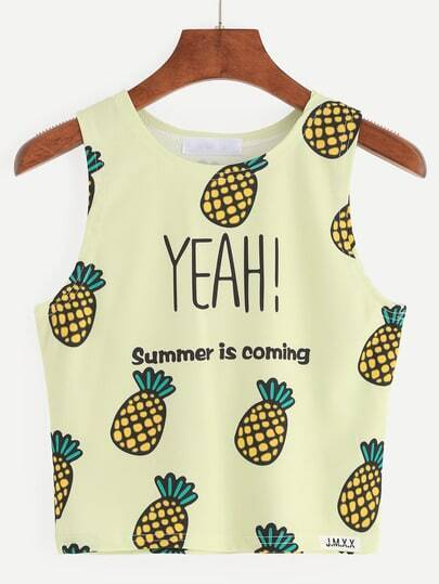 Yellow Pineapple Print Crop Tank Top