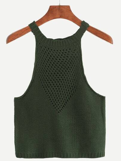 Green Hollow Out Knitted Top