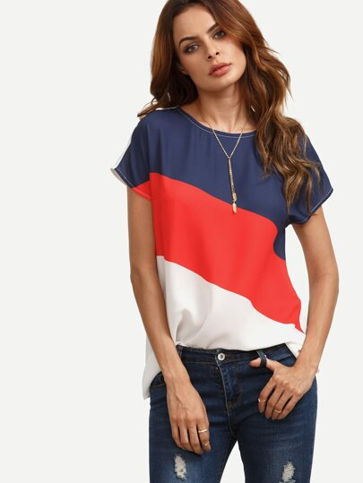 Contrast Colorblock Keyhole Back Blouse