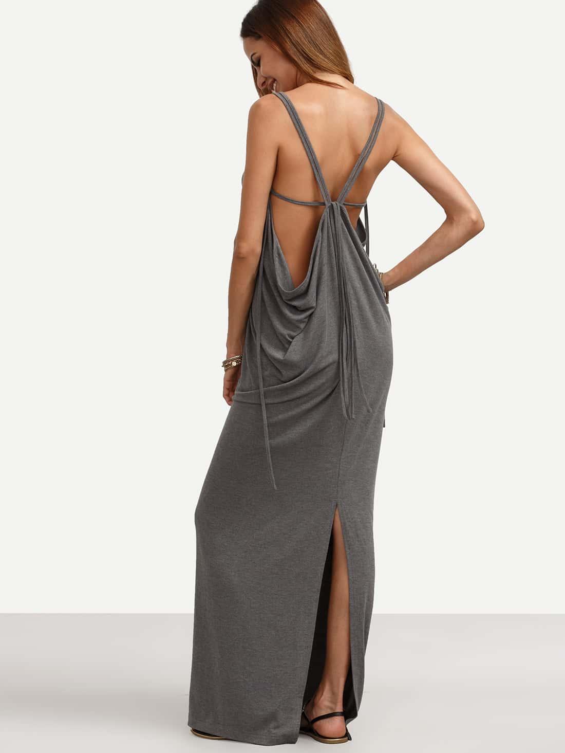 Фото Grey V Neck Backless SStrappy Open Back Split Floor Length Tank Dressplit Maxi Dress. Купить с доставкой