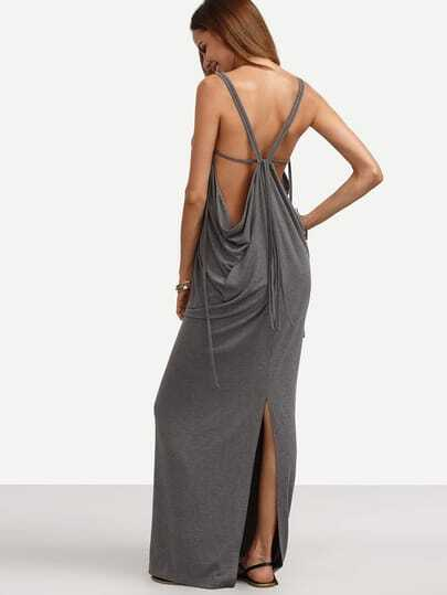 Grey V Neck Backless Split Maxi Dress