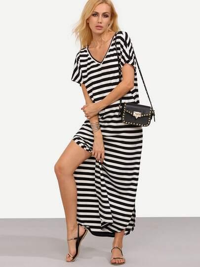 Stripe Curved Hem Long Length Dress