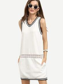 White Casual V Neck Pocket Sheath Dress