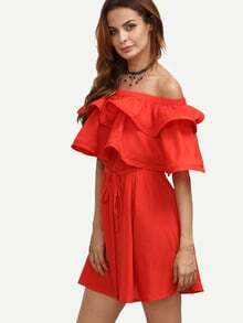 Red Ruffle Tie Waist Off The Shoulder Dress