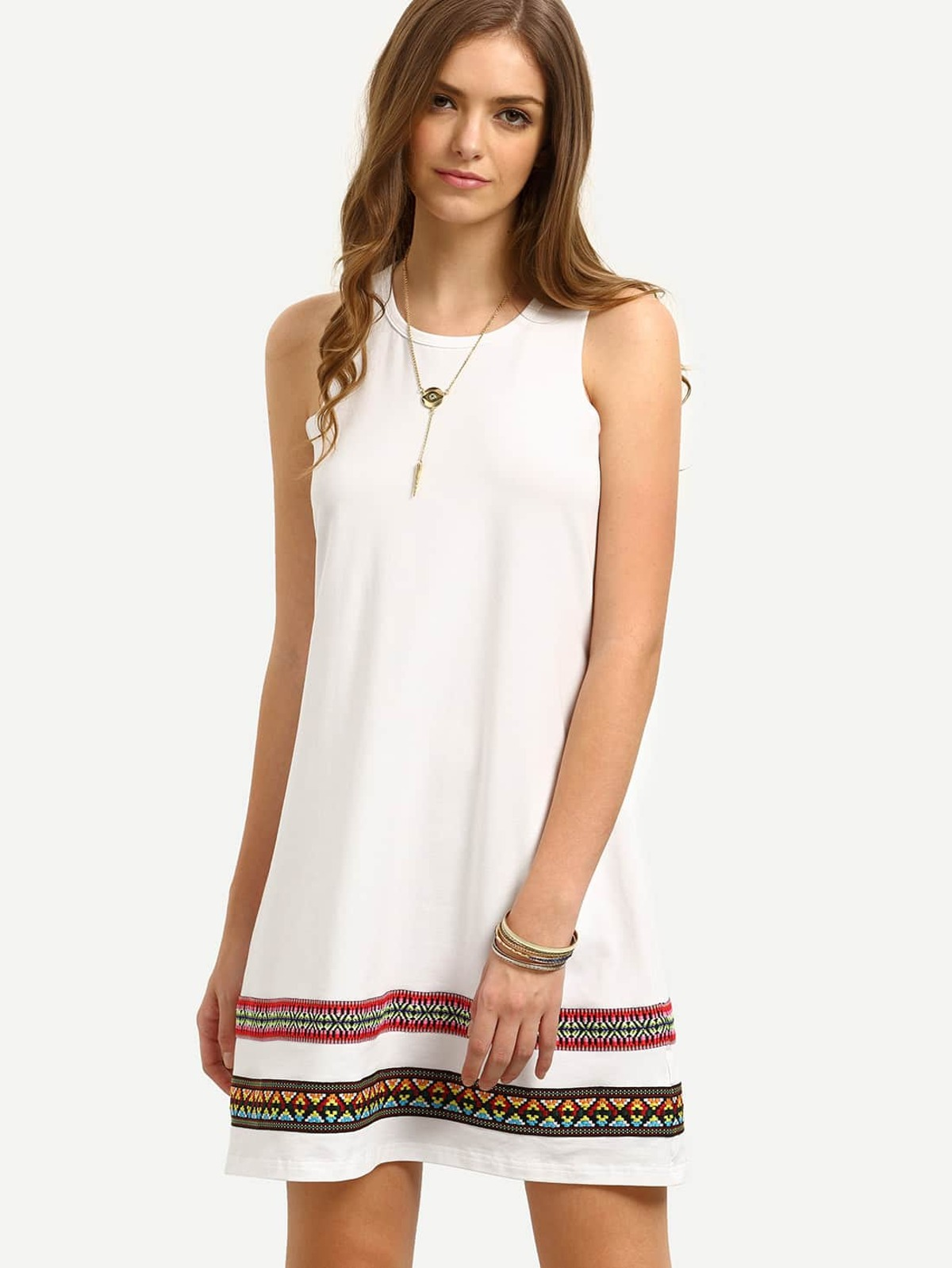 Embroidery Tape Swing Tank Dress