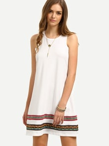 White Vintage-faced Sleeveless Shift Dress