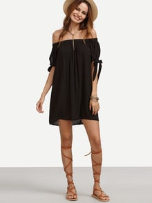 Bardot Tied Cuff Swing Dress