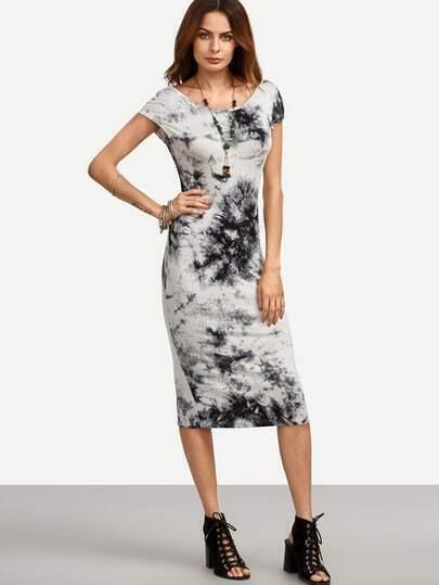 Multicolor Tie-dye V Back Split Sheath Dress