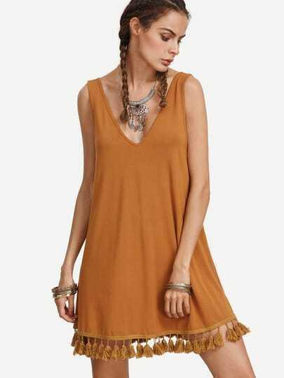 Brown V Neck Tassel Hem Sleeveless Dress