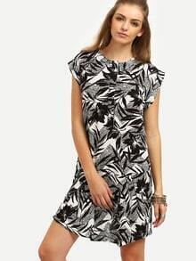 Black Print Cap Sleeve Shift Dress