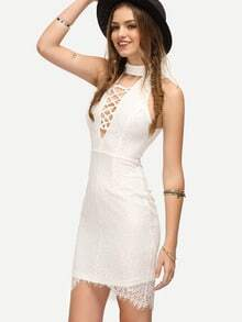 White Lattice-front Sleeveless Bodycon Dress