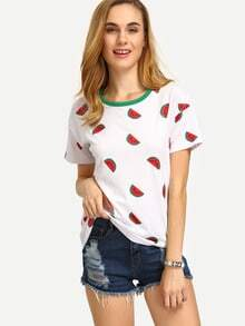 Kurzarm T-Shirt mit All-Over-Obst Druck und Kontrastausschnitt