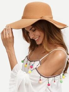Sombrero vintage ala ancha -camello