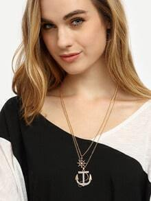 Golden Dual-layer Anchor Pendant Necklace